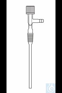 Einleitungsrohr Kern NS 29 Ventilhahn, seitliche Olive, Länge ab Oberkante Kern 250 mm, Duran...