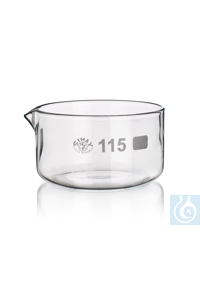 Crystallising dish with spout, 20 ml, dim. Ø 40 x H 25 mm, Simax® borosilicate glass, type: 175