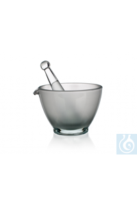Mortar with pestle, unglazed, dim. Ø 1= 80 x Ø 2= 50 x H 60 mm, with spout, Simax® borosilicate...