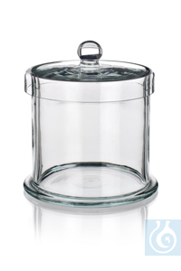 Specimen jar with knobbed glass lid, dim. Ø 65 x H 65, with foot, Simax® borosilicate glass,...