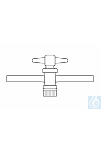Stopcock -one way - with PTFE-plug, NS 29,2/10, side arms 18 mm, borosilicate glass 3.3