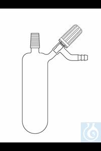 Tube d'azote à fond rond 25 ml, rodage mâle NS 14, vanne latérale, verre Duran borosilicate 3.3