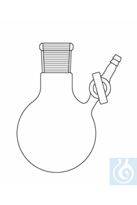 Nitrogen round bottom flask 25 ml, socket NS 14, lateral glass stopcock, Duran borosilicate glass...