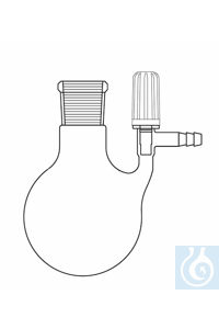 Nitrogen round bottom flask 500 ml, socket NS 29, lateral spindle valve, Duran borosilicate glass...