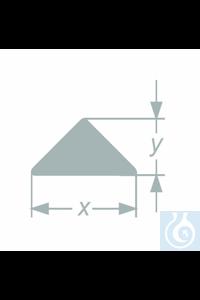 Barre triangulaire, dim. 20,0+-0.5 x 8,0+-0,4 mm, emballage 11,70 kg, 32 pièces, en verre...