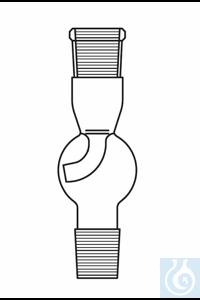 Tête à reflux avec ampoule de garde selon Stutzer NS 14 droit, verre Duran borosilicate 3.3