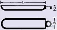 Nacelles de combustion en quartz translucide, sans poignée, L x B x H = 103 x 20 x 12