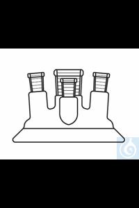 Vierhals Planflansch-Deckel DN 60, Mitte:  NS 14, Seite:  NS 14 gerade, 2 x NS 14 schräg