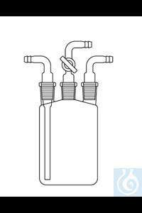 9Artikelen als: Woulffse fles 500 ml, 3 x huls NS 19 compleet met drie aansluitstukken...