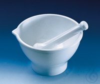 Mortar with pestle MF white foot/spout 125 x 80 mm, autoclavable (121°C) Mortar with pestle, MF,...