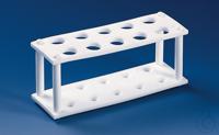 Reagenzglasgestell, PTFE f. 4 Röhr. bis D. 30 mm, 180x60x80 mm Reagenzglasgestell, PTFE, für 4...