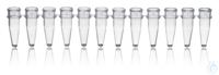 PCR-Gefäße, 12er, PP, ohne Deckel 0,2 ml, farblos, VE = 80 Strips 12er-Strips PCR-Gefäße, PP, 0,2...