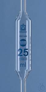 Vollpipette, BLAUBRAND, Kl. AS, DE-M 20 ml, 1 Marke, AR-Glas