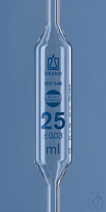 Bulb pipette BLAUBRAND cl. AS DE-M 50 ml, two marks, AR-Glas Bulb pipette BLAUBRAND®, AS, DE-M,...