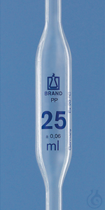 Bulb pipette, PP 25 ml, one-mark Bulb pipette, PP, 25 ml, one-mark