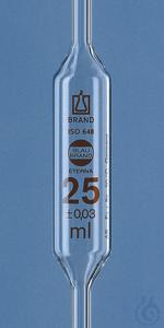 Bulb pip. BLAUBRAND-ETERNA AS DE-M 25 ml, one-mark, AR-Glas Bulb pipette BLAUBRAND® ETERNA, AS,...