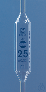 Bulb pipette BLAUBRAND cl. AS USP DE-M 25 ml, one-mark, AR-Glas Bulb pipette USP BLAUBRAND®, AS,...