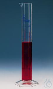 Messzylinder, hohe Form, 1000 ml:10 ml, PMP, blaue Grad. Messzylinder, hohe Form, 1000:10 ml,...