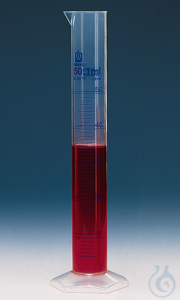 Messzylinder, hohe Form, 100 ml: 1 ml, PP, blaue Grad. Messzylinder, hohe Form, 100:1 ml, PP,...