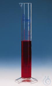 Messzylinder, hohe Form, Kl. A, DE-M/ChZ 2000 ml:20 ml, PMP, blaue Grad. Messzylinder, hoheForm,...