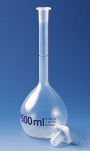 Volumetric flask PMP class B 500 ml, NS 19/26, PP-stopper, trans.