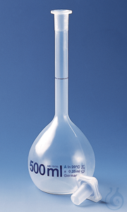 Volumetric flask PMP cl. A transparent 10 ml, NS 10/19, PP-stopper Volumetric flask, PMP,...