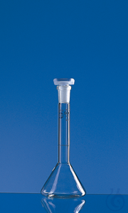 Vol.flask trapez. BLAUBRAND A DE-M 20 ml, Boro 3.3, NS 10/19, PP-stopper Volumetric flask...