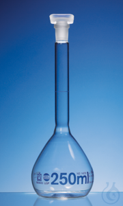 Vol. flask, BLAUBRAND, cl.A, USP, cert. 250 ml, Boro 3.3, NS 14/23, PP-stopper Volumetric flask,...