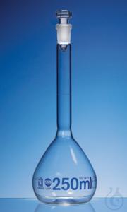 Messkolben, BLAUBRAND, Kl. A, USP, DE-M 250 ml, Boro 3.3 NS 14/23 Glas-Stopfen Messkolben, USP,...