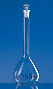 Vol. flask BLAUBRAND class A DE-M 1000 ml, Boro 3.3 NS 24/29 glass stopper Volumetric flask,...