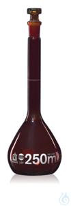 Vol. flask BB cl. A USP DE-M amber 250 ml, Boro 3.3 NS 14/23 glass stopper Volumetric flask, USP,...