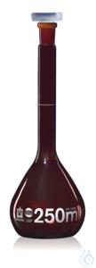 Vol. flask BB cl. A USP DE-M amber 1000 ml, Boro 3.3, NS 24/29, PP stopper Volumetric flask, USP,...