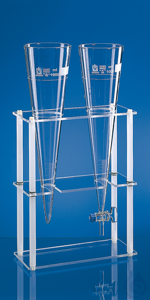Rack f.2 sedimentation cones made of glass or plastics 300x130x400 mm Rack for two Imhoff...