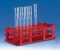 Reagenzglasgestell, PP 265x126x75 mm f. 84 Röhr.b.D. 13 mm weiß Reagenzglasgestelle, PP, für 84...