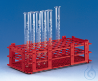 Test tube rack, PP, red 265x126x75 mm f. 84 tubes to dia. 13 mm Test tube rack, PP, red, 265 x...