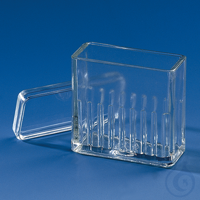 Stain.trough Hellendahl pattern with lid f. 16 slides 76 x 26 mm, soda-lime glas Staining trough,...