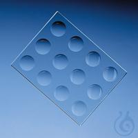 Färbeplatte, Natron-Kalk-Glas 130x100x 6 mm 12 Vertiefungen D.20-22 mm Färbeplatte, Na-Kalk-Glas,...