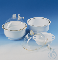 Desicc./lid PC, base/desiccant tray PP nom. size 250 mm, with venting stopper Desiccator/lid PC,...