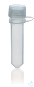 Microtube PP, attached screw cap PE 2,0 ml, round bottom, non-ster., ungrad. Microtubes (PP) with...