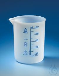 Becher, niedrige Form, ETFE 25 ml: 5 ml, mit Teilung und Ausguss Becher, niedrige Form, ETFE,...