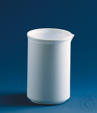 Becher, niedrige Form, PTFE 1000 ml, ohne Teilung, mit Ausguss Becher, niedrige Form, PTFE, 1000...