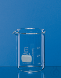 Becher, niedrige Form, Boro 3.3 600 ml, mit Teilung und Ausguss Becher, niedrige Form, 600 ml,...