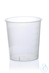 Urine beaker, without lid, PP, IVD grad. to 125 ml Urine beaker, PP, 125 ml, without lid