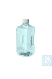 NalgeneÖPolycarbonate Biotainer™ Bottles and Carboys Square w/PE handle 48mm 5L Case of 6...