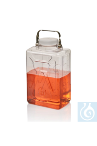 Nalgene™ Clearboy™ rechteckige klare Polycarbonat-Ballonflasche mit Hahn, 9l 20l...