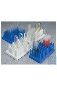 Nalgene™ Polypropylene-Filled Test Tube Peg Racks 8 x 12 10-13mm Tubes Blue Case of 8...