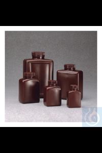 Nalgene™ Rechteckige braune HDPE-Flaschen 1l Case of 24 53mm