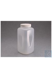 Nalgene™ Large Square Wide-Mouth HDPE Bottle with Closure 100mm 4L Case...