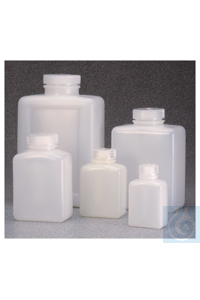 Nalgene™ Rectangular HDPE Bottles with Closure: Bulk Pack 125mL Case of...