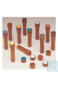 Nalgene™ Amber PPCO High Profile Closures with Color Coders for Micro Packaging Vials:...